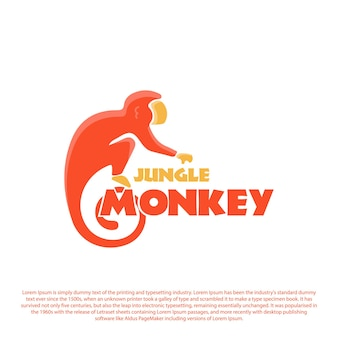 브랜드 또는 비즈니스를 위한 창의적인 정글 원숭이 로고 디자인 로고