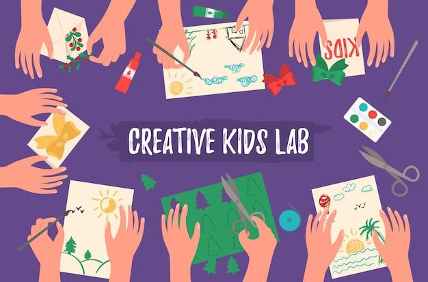 Творческая детская лаборатория, вид сверху, детские руки