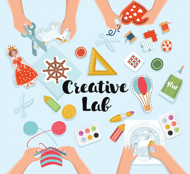 Creative kids lab, top view table with creative kids hands. cutting paper, painting and sketching, knitting, embroidery
