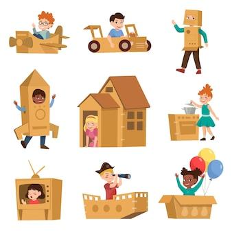 段ボール箱のイラストセットで創造的な子供たち