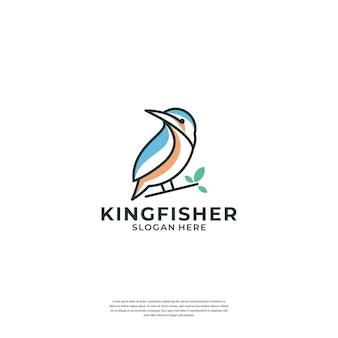 Креативный шаблон логотипа линии зимородка