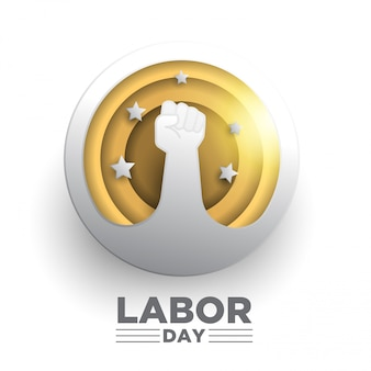 Creative labor day design. circle paper art style