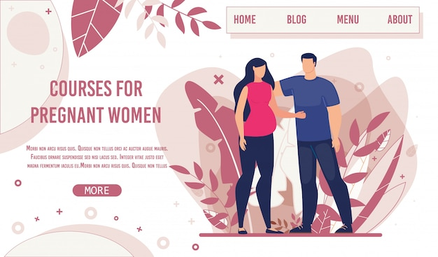 Creative landing page for pregnant woman courses