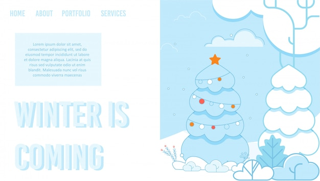 Creative landing page with fir trees in snowy park