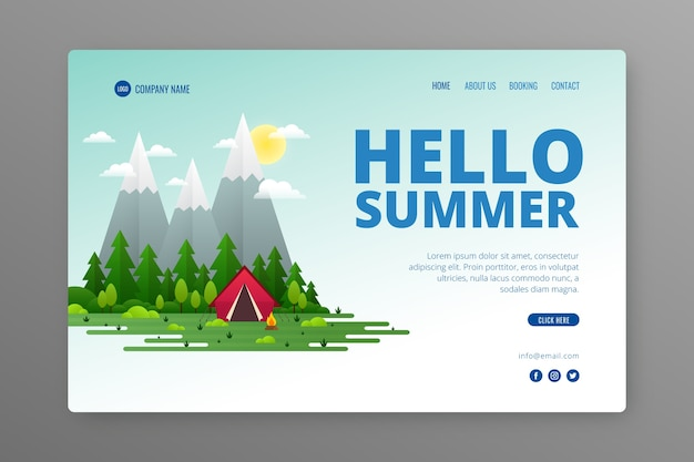 Creative landing page with summer illustration