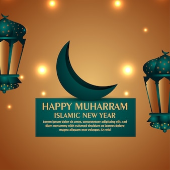 Creative lantern for happy muharram card