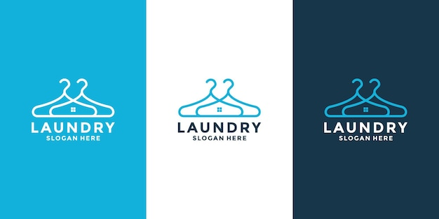 Creative laundry house logo design template