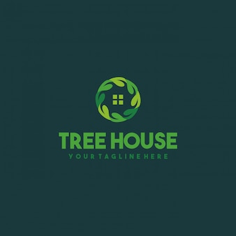 Creative leaf house logo design