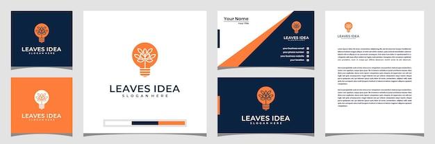 Creative leaves idea concept logo design template business card and letterhead.