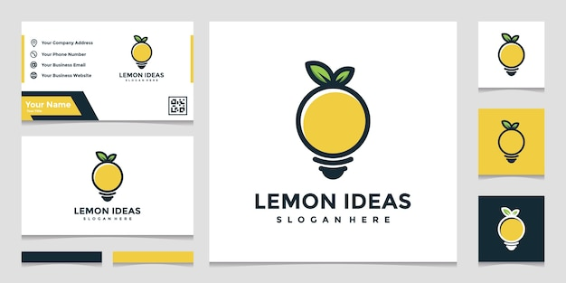 Creative lemon logo idea in full color and business card design