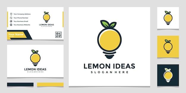 Креативная идея логотипа лимона в полном цвете и дизайн визитной карточки