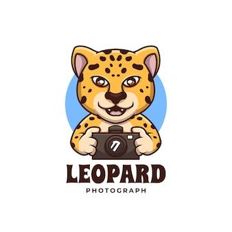 Creative leopard photograph cartoon mascot logo