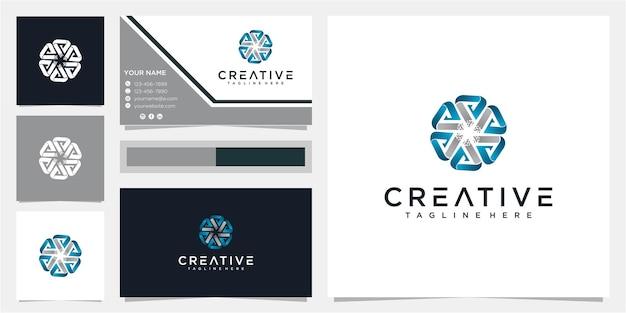 Творческое письмо шаблон дизайна логотипа сообщества с визитной карточкой