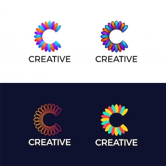 Creative letter c colorful flower leaf abstract logotype.