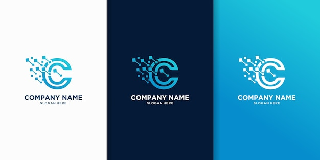 Creative of letter c technology logo design