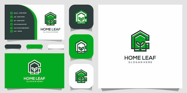 Creative letter c with house nature logo design template. business card.