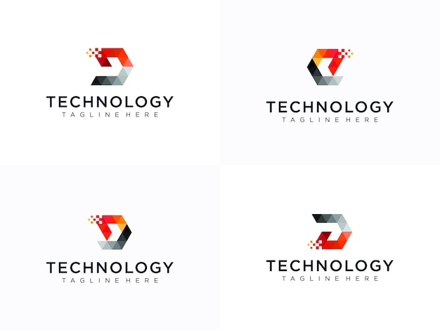 クリエイティブな文字dのロゴコレクション。