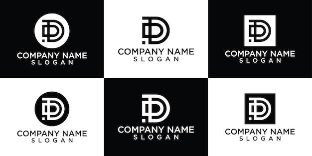 창조적 인 편지 d 로고 디자인 컬렉션