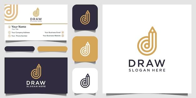 연필 개념 로고 영감을 가진 창조적 인 편지 d입니다. 및 명함 디자인
