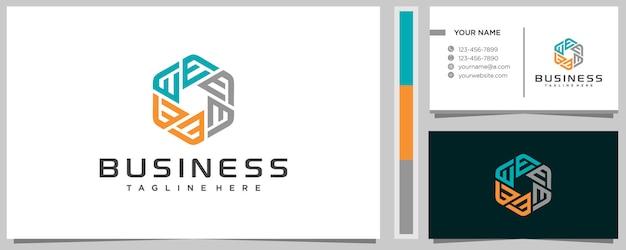 Креативная буква e в дизайне логотипа шестиугольника с визитной карточкой