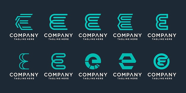 Creative letter e logo icon set design for business of sport technology simple
