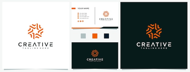 Creative letter f with circle logo design template with business cards premium. f logo inspirations