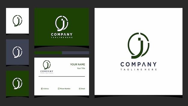 Креативная буква j, концепция логотипа и визитная карточка премиум векторы