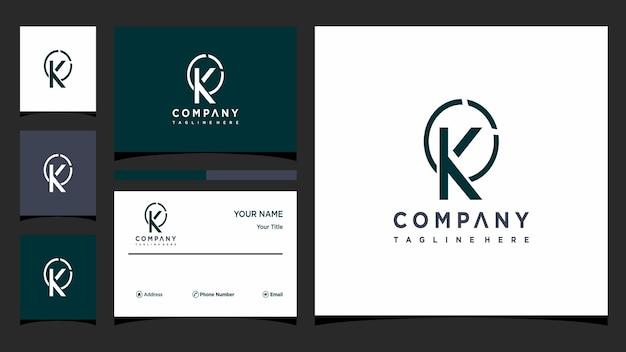 Креативная буква k концепция логотипа и визитная карточка премиум векторы