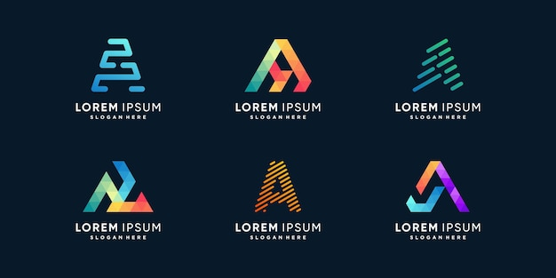 Creative letter logo collection with initial a premium vector