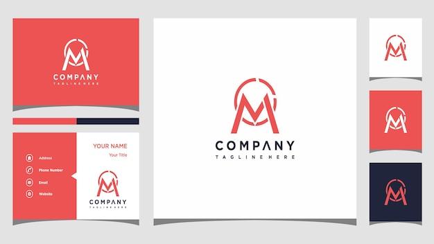 Креативная буква m с логотипом и визитной карточкой премиум векторы