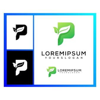 Creative letter p leaves logo design