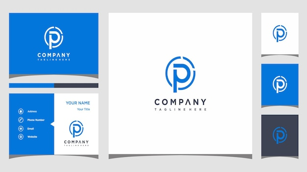 Креативная концепция логотипа буква p и визитка премиум векторы