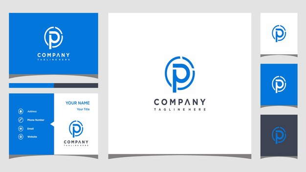 Creative letter p logo concept and business card premium premium vector