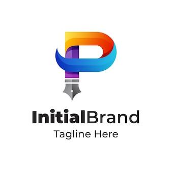 펜 모양의 크리 에이 티브 편지 p 로고 디자인