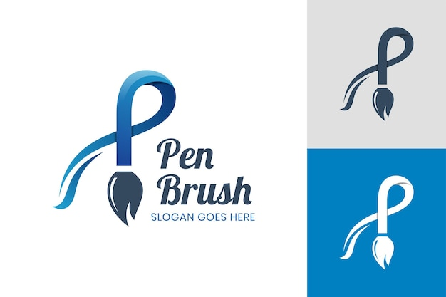 Creative letter p with brush pen icon design for creative designer, painter, brush shop logo template