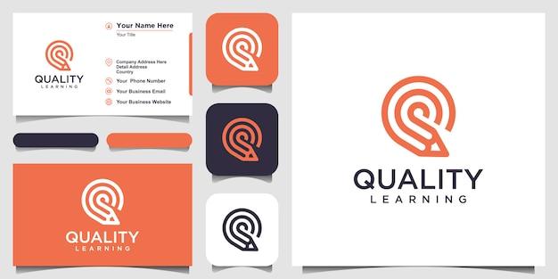 鉛筆コンセプトロゴインスピレーションと創造的な手紙q。と名刺デザイン
