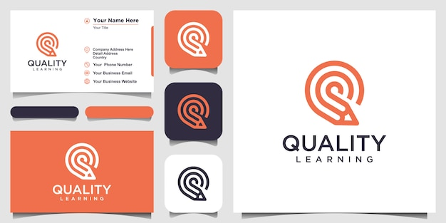 Creative letter q with pencil concept logo  inspiration. and business card design