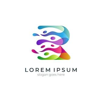 Creative letter r colorful gradient logo