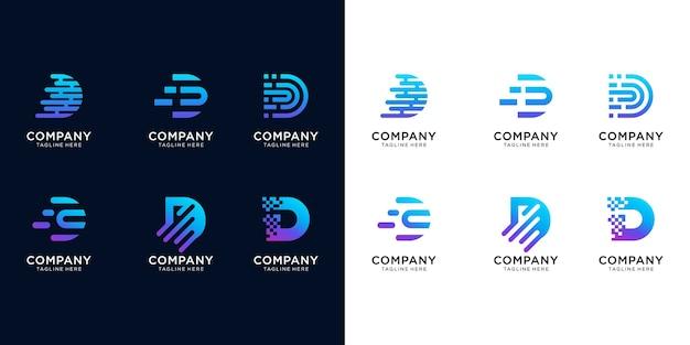 크리 에이 티브 편지 d 현대 디지털 기술 로고를 설정합니다. 로고는 기술, 디지털, 연결, 컴퓨터 회사에 사용할 수 있습니다.