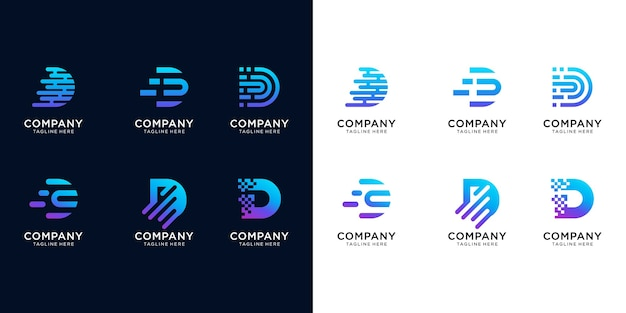 Creative letter set d modern digital technology logo. logos can be used for technology, digital, connections, computer companies