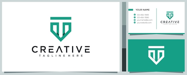 Креативная буква t концепция логотипа и премиум визитка