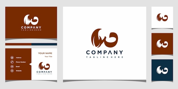クリエイティブな手紙w葉のロゴの概念と名刺プレミアムプレミアムベクトル