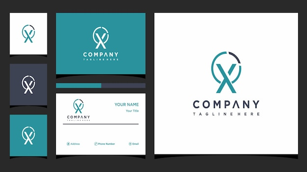 Creative letter x logo concept and business card premium premium vector