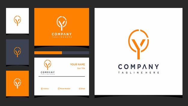 Креативная буква y, концепция логотипа и визитная карточка премиум векторы