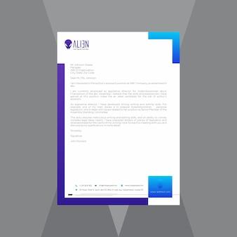 Творческий бланк с синим и фиолетовым градиентом