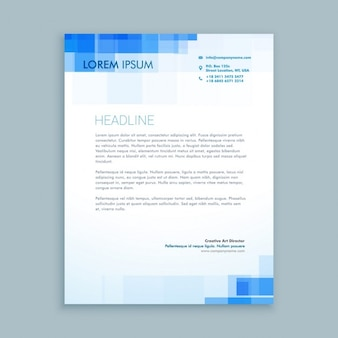 Creative letterhead with blue shapes