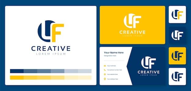 名刺idテンプレートを使用したクリエイティブなlf文字モノグラムロゴデザイン
