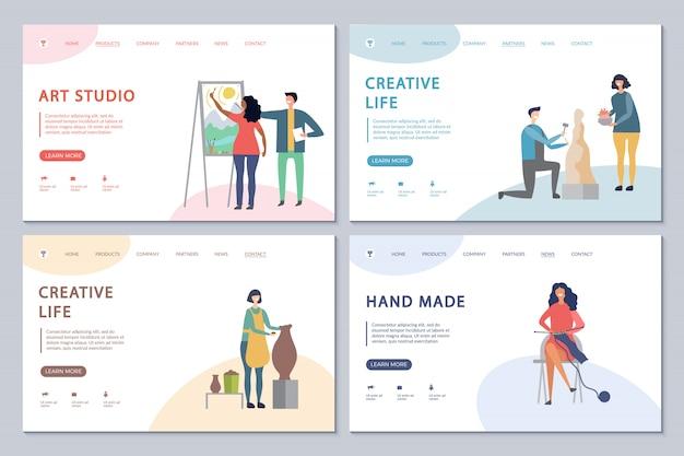 Creative life landing page set  template