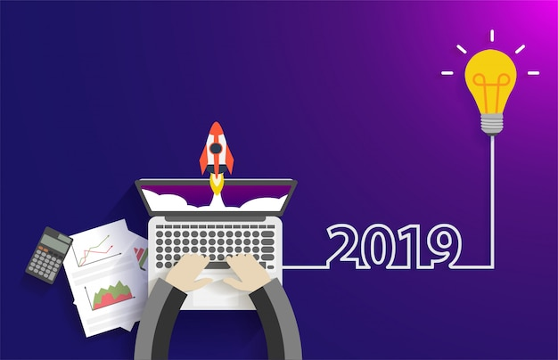 Creative light bulb idea 2019 new year startup idea concept