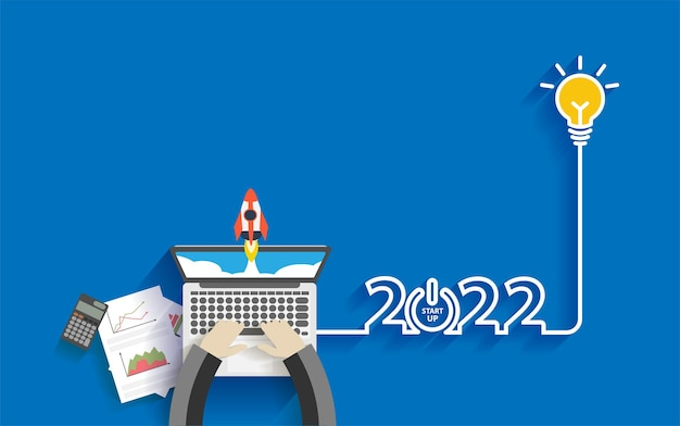 Creative light bulb idea 2022 new year business start up ideas concept design, with businessman working on laptop computer pc, top view from above vector illustration